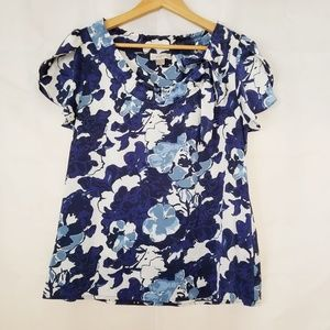 Ann Taylor Loft Short Sleeve Top Blue White Medium